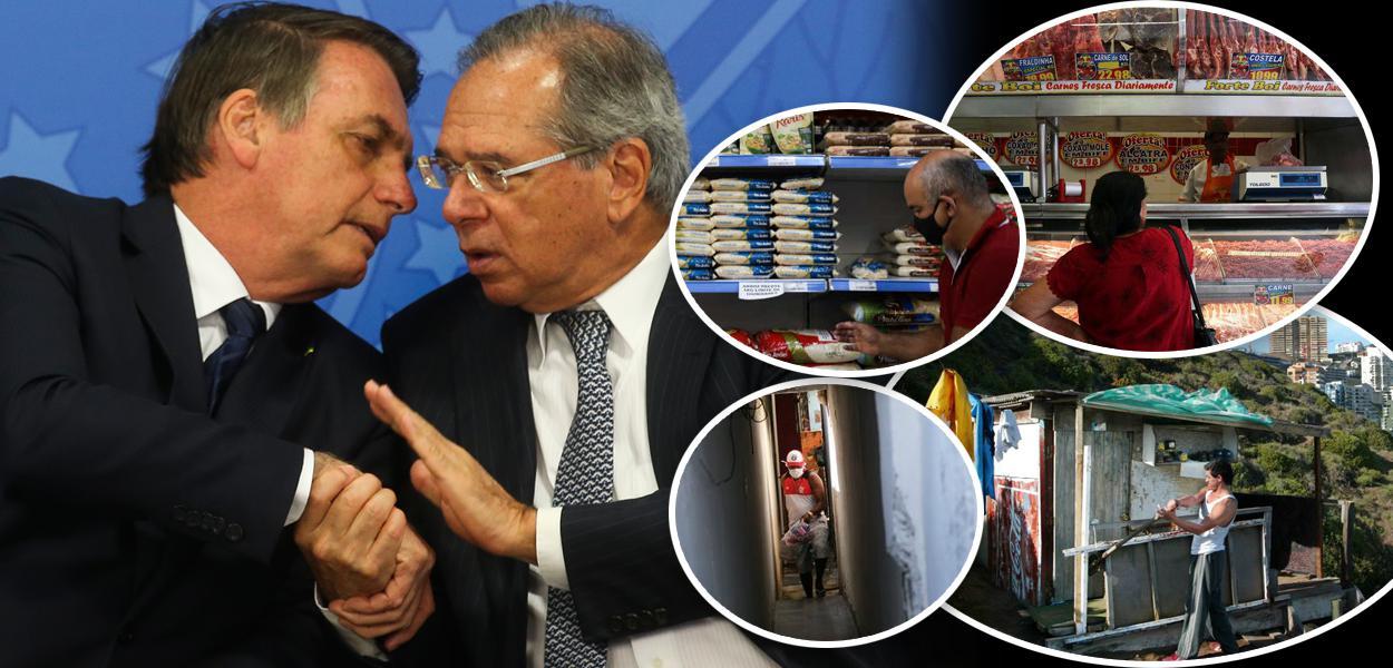 Bolsonaro com Paulo Guedes, pessoas fazendo compras em mercado e cenas de pobreza