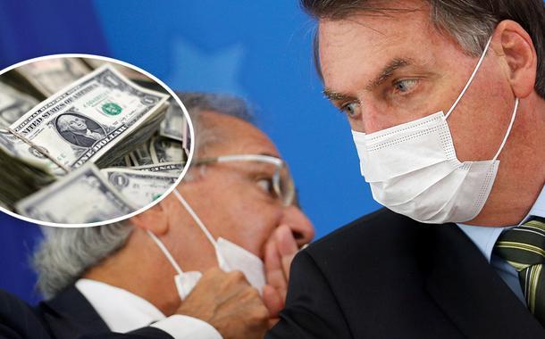 Dólar e Paulo Guedes com Jair Bolsonaro