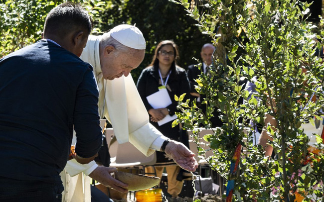 Papa Francisco regando o jardim