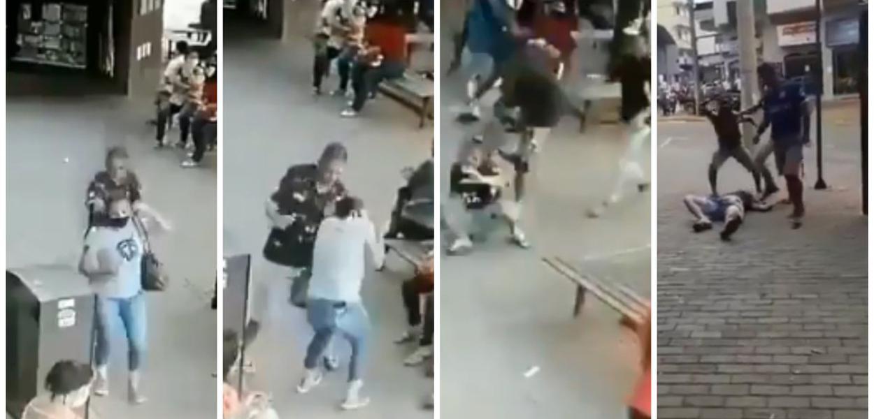 Homem agride mulher e, antes de ser preso pela polícia, é linchado por populares