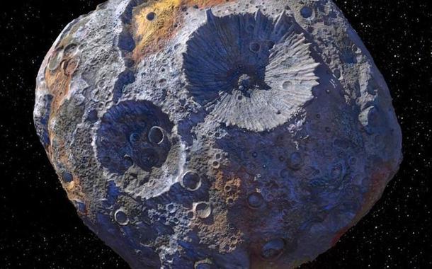 Ilustração do 16 Psyche, asteroide formado inteiramente por ferro e níquel