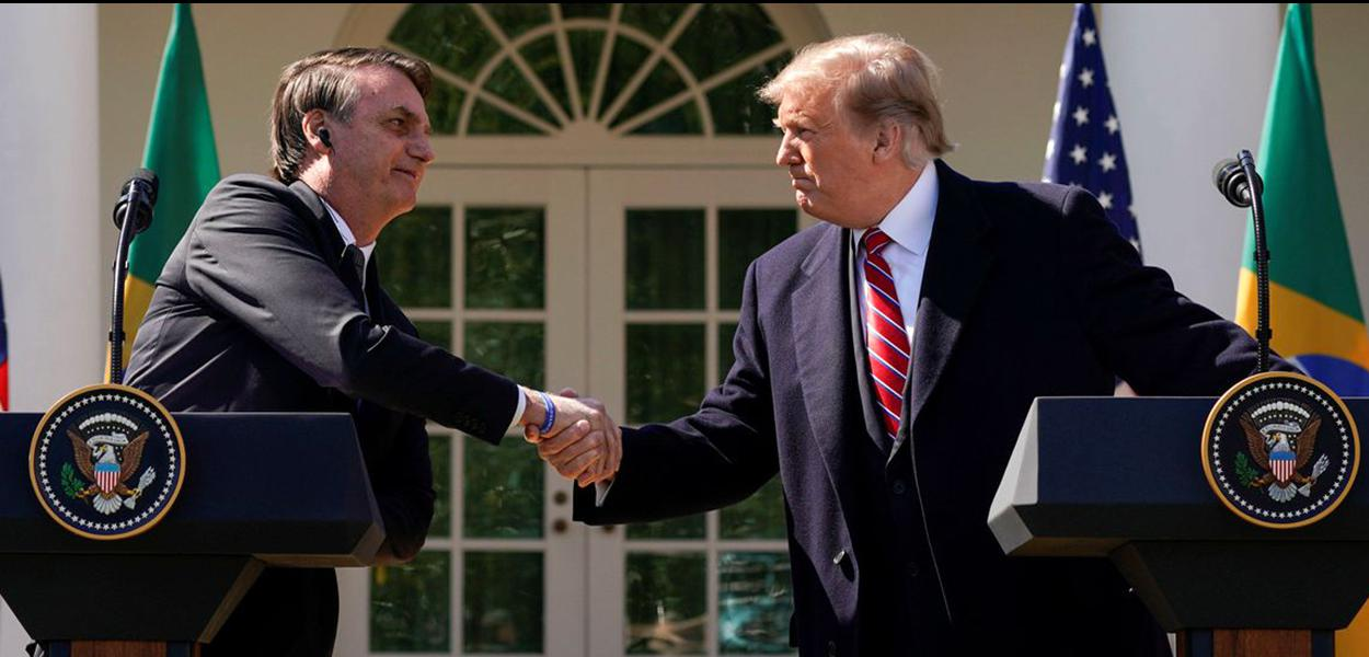 O presidente do Brasil, Jair Bolsonaro, e o presidente dos EUA, Donald Trump, durante uma entrevista coletiva no Rose Garden da Casa Branca, em Washington (EUA)