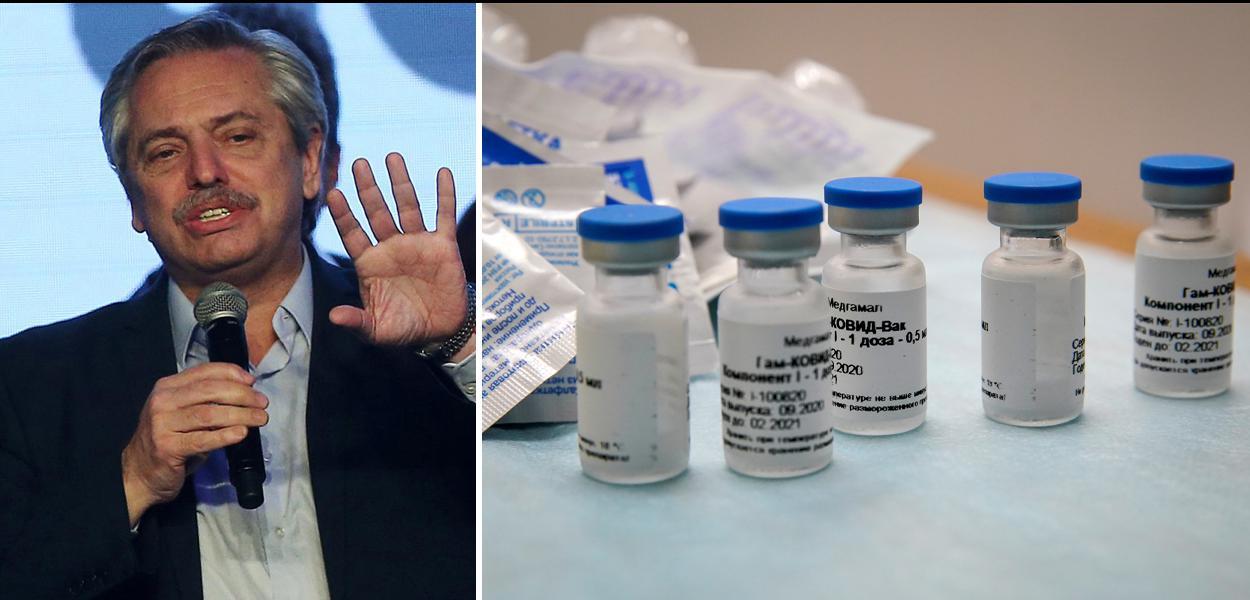 Presidente argentino Alberto Fernandes e a vacina Sputnik V
