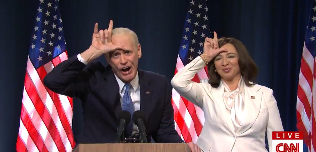 Jim Carrey e Maya Rudolph imitam Joe Biden e Kamala Harris