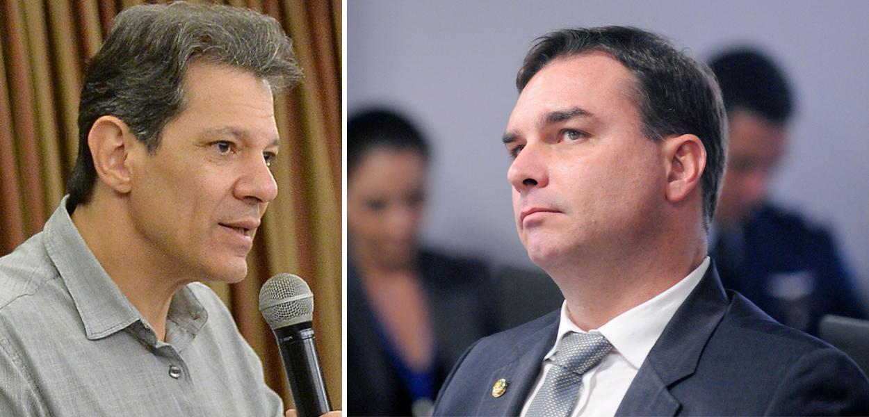 Fernando Haddad e Flávio Bolsonaro