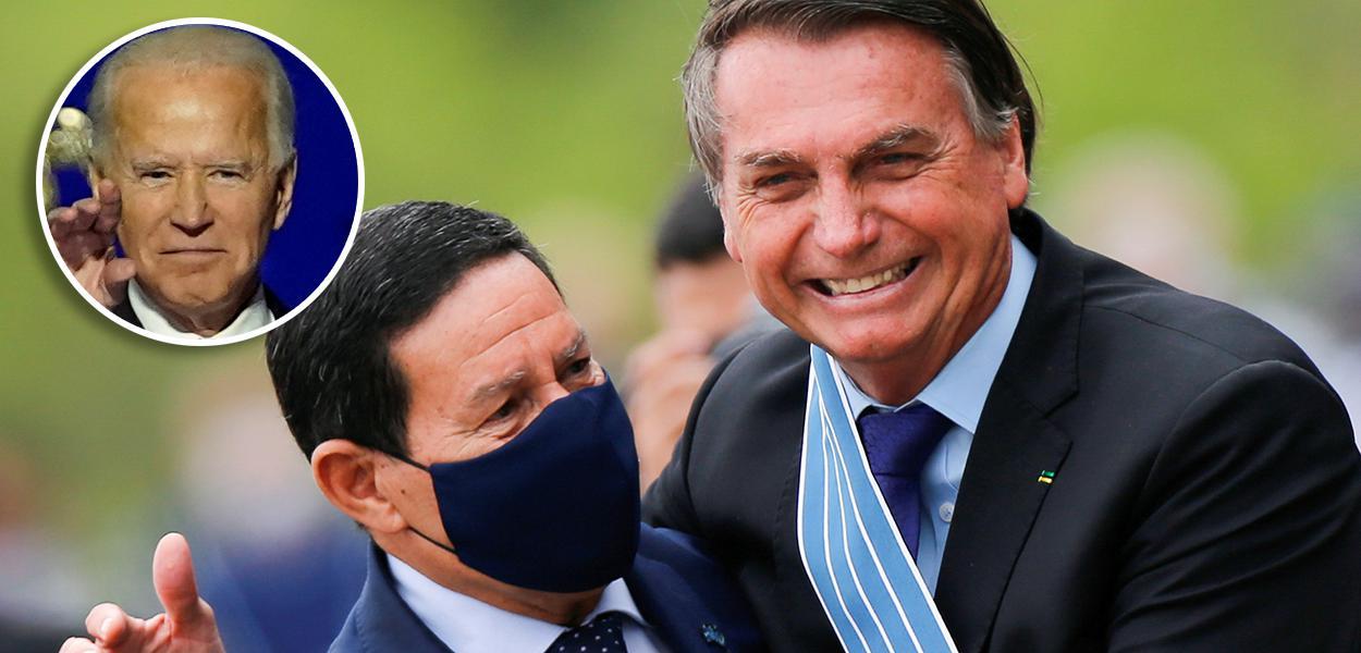 Joe Biden no detalhe; Mourão com Bolsonaro