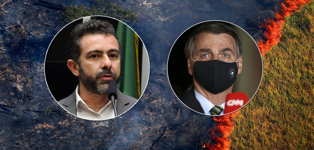 Márcio Astrini, do Observatório do Clima, e Jair Bolsonaro