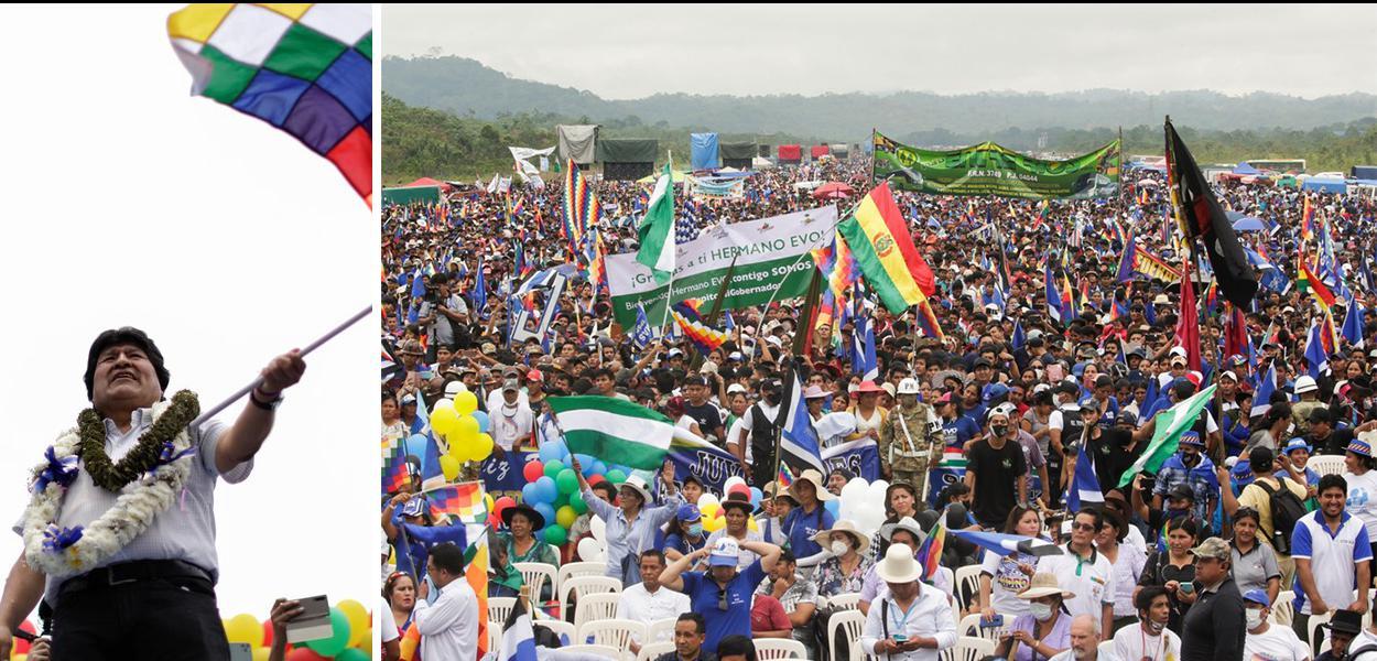 Evo Morales chega a cidade de Chimore, em Cochabamba, um ano depois de ter se exilado fora da Bolívia nesta quarta-feira (11) .