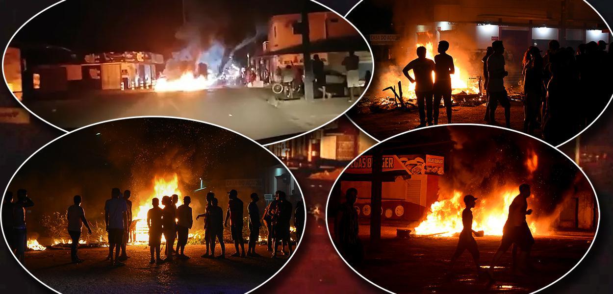 Protestos no bairro de Santa Rita, no Amapá.