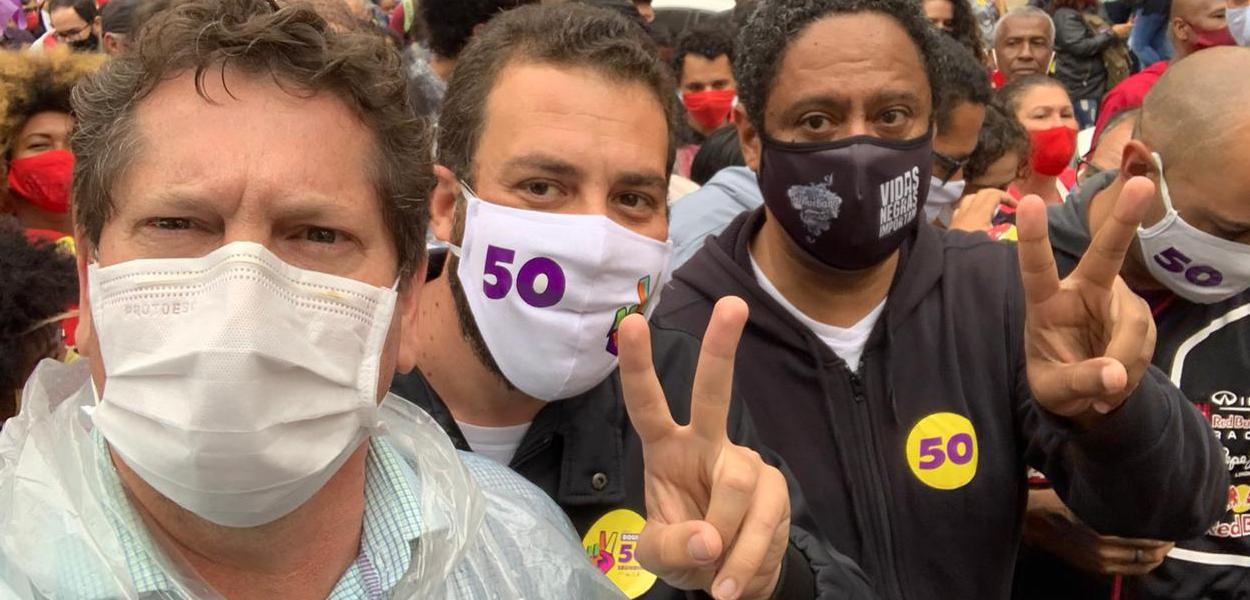 Jilmar Tatto, Guilherme Boulos e Orlando Silva
