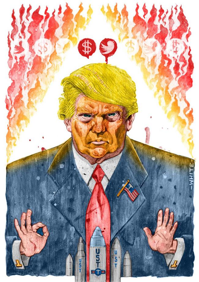 Caricatura de Donald Trump