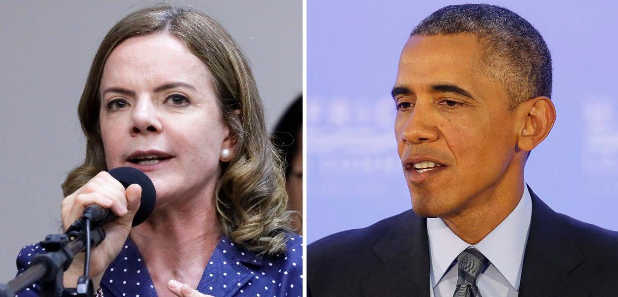 Gleisi Hoffmann e Barack Obama