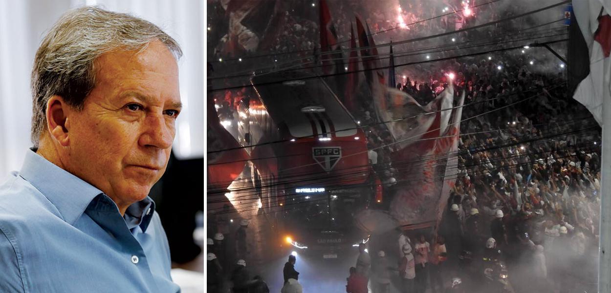 Edson Aparecido e torcida do São Paulo aglomerada em frente ao estádio do Morumbi