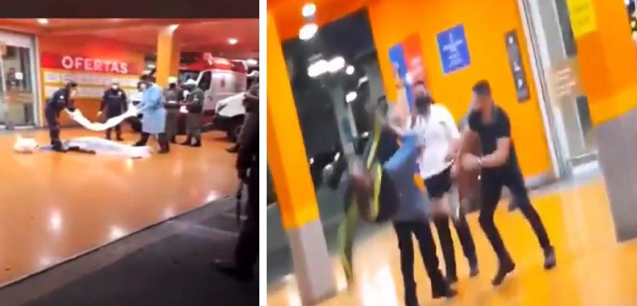 João Alberto Silveira Freitas dá quase uma cambalhota enquanto estava sendo espancado por seguranças em Porto Alegre