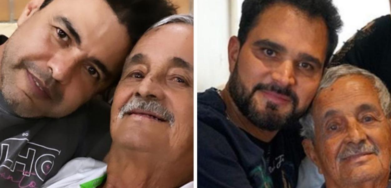 Zezé com o pai Francisco de Camargo e Luciano o pai Francisco de Camargo