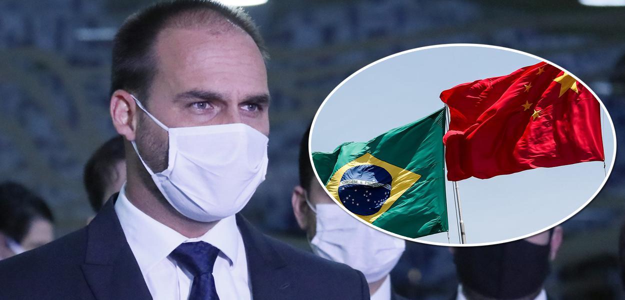 Eduardo Bolsonaro e bandeiras do Brasil e China