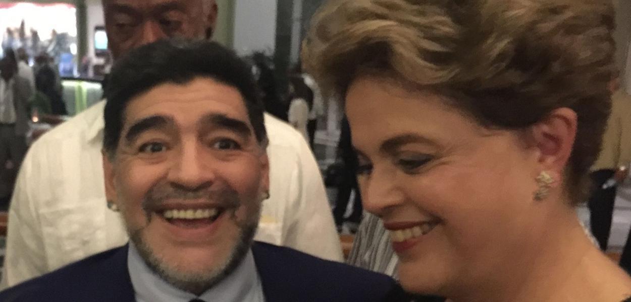 Diego Maradona e Dilma Rousseff