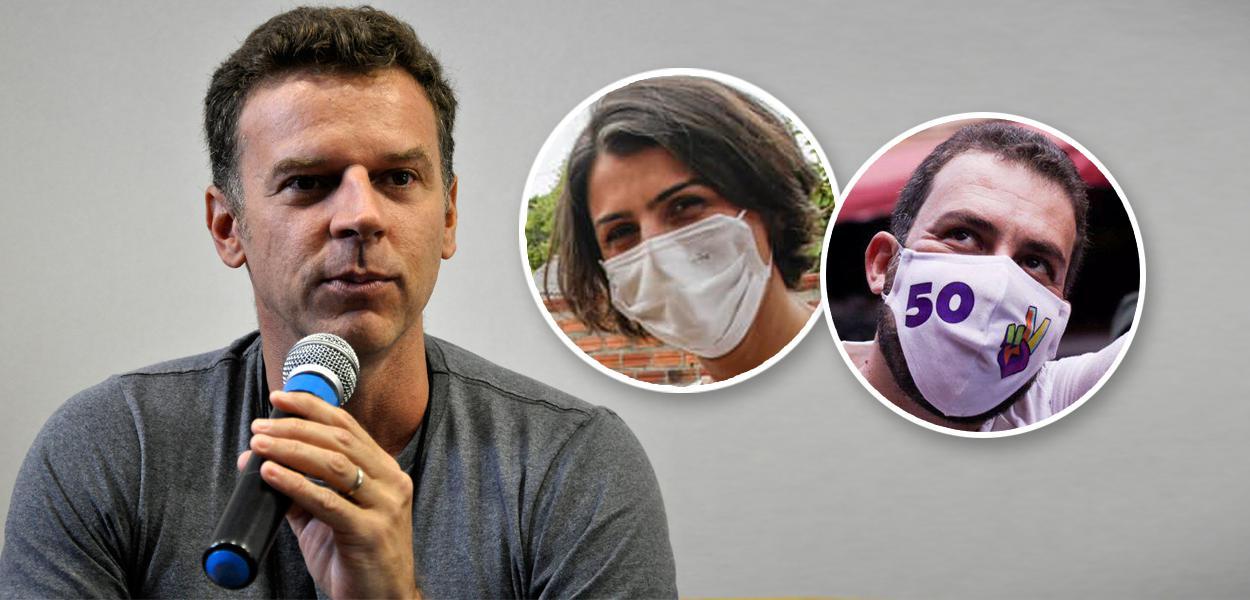 Eduardo Moreira, Manuela D'Ávila e Guilherme Boulos