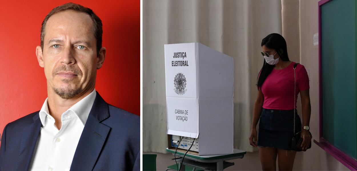 Ricardo Cappelli e mulher votando