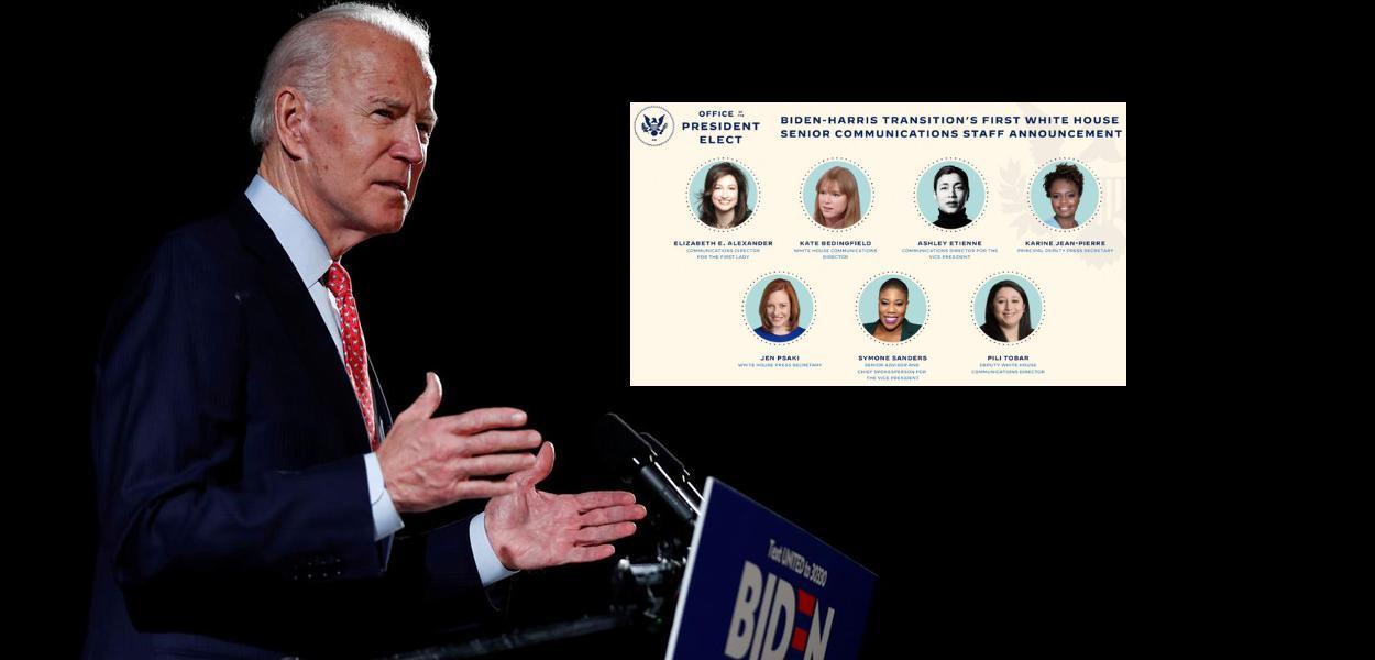 Joe Biden e equipe de comunicação