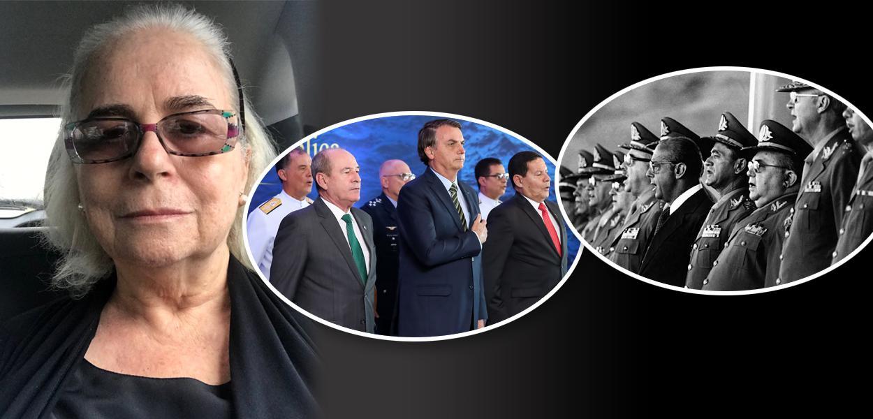 Hildegard Angel, Bolsonaro com militares e generais na ditadura