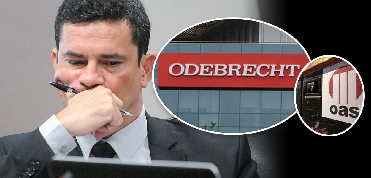 Sergio Moro e fachadas da Odebrecht e OAS