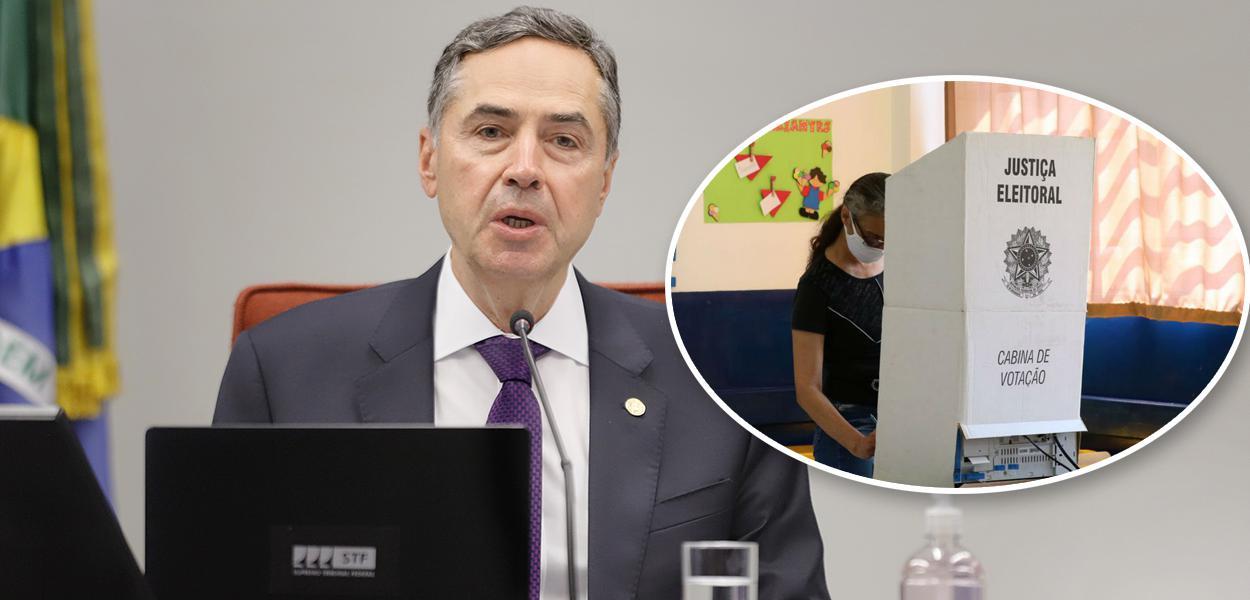 Ministro Roberto Barroso e pessoa votando