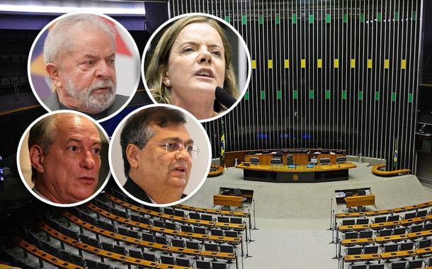 Lula, Gleisi Hoffmann, Ciro Gomes, Flávio Dino e plenário da Câmara dos Deputados
