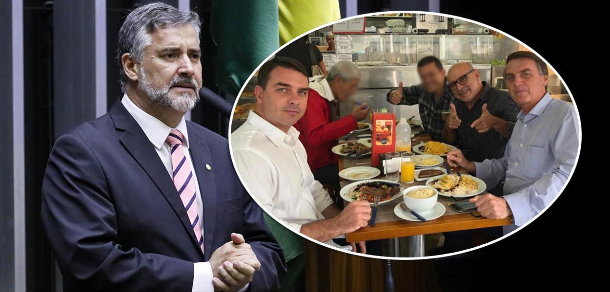 Paulo Pimenta, Flávio Bolsonaro com Fabrício Queiroz e Jair