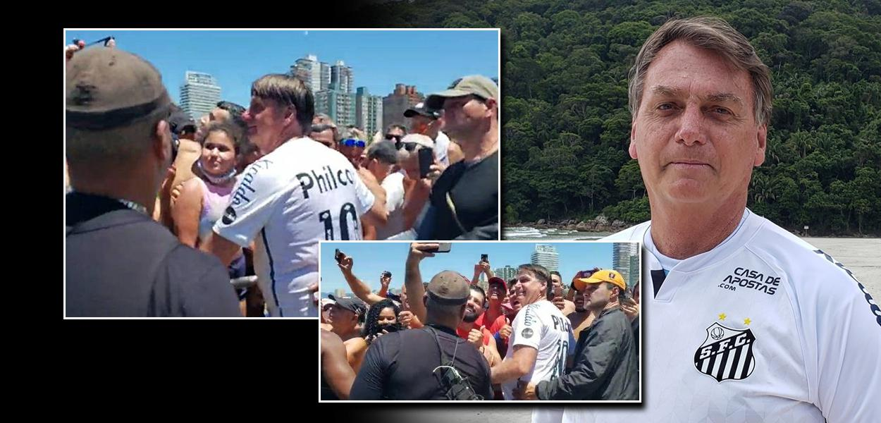 Bolsonaro provoca aglomeração no litoral paulista