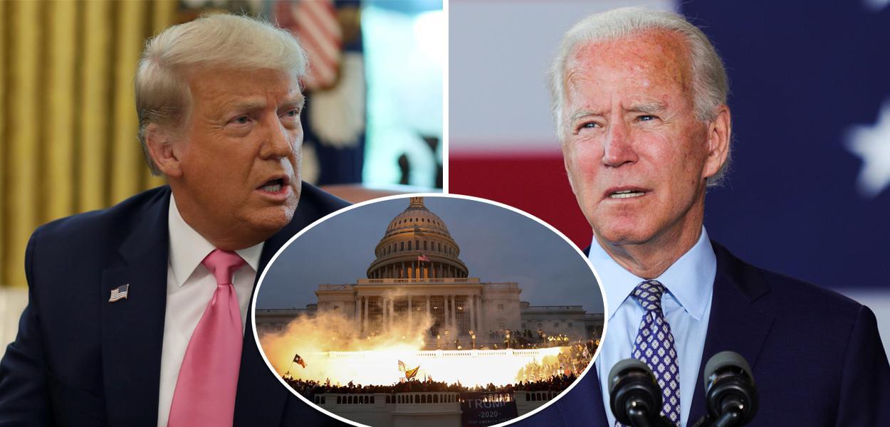 Trump, Capitólio invadido por seus apoiadores e Joe Biden