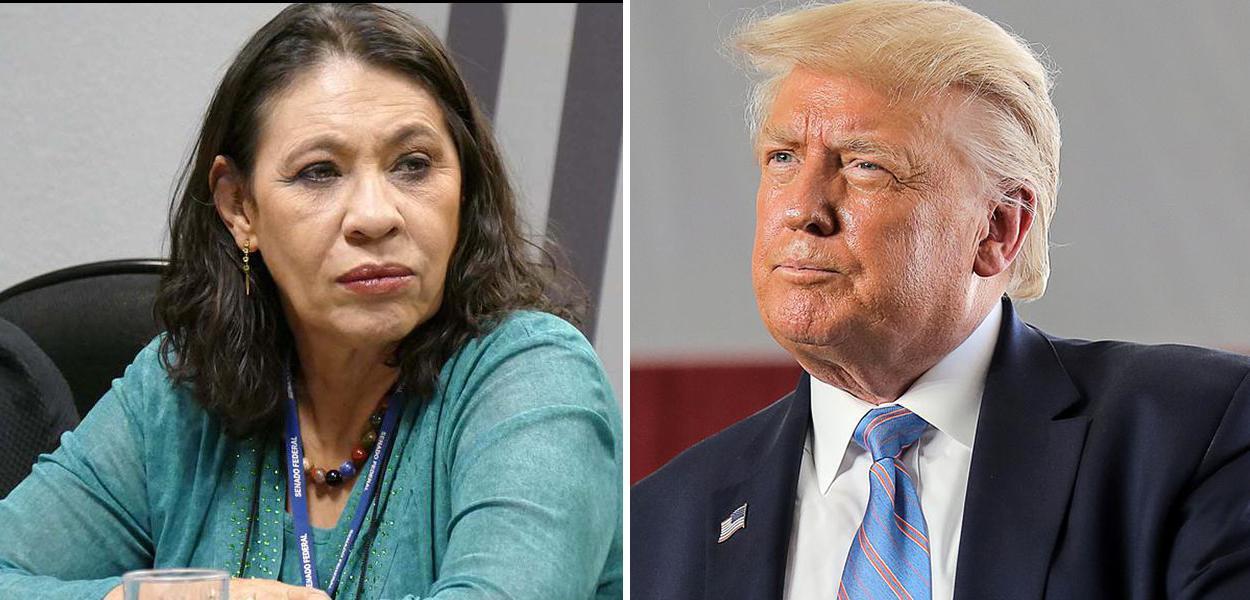 Jornalista Tereza Cruvinel e Donald Trump