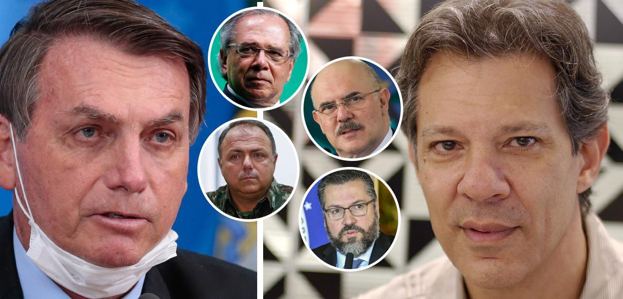 Jair Bolsonaro, Paulo Guedes, Eduardo Pazuello, Milton Ribeiro, Ernesto Araújo e Fernando Haddad