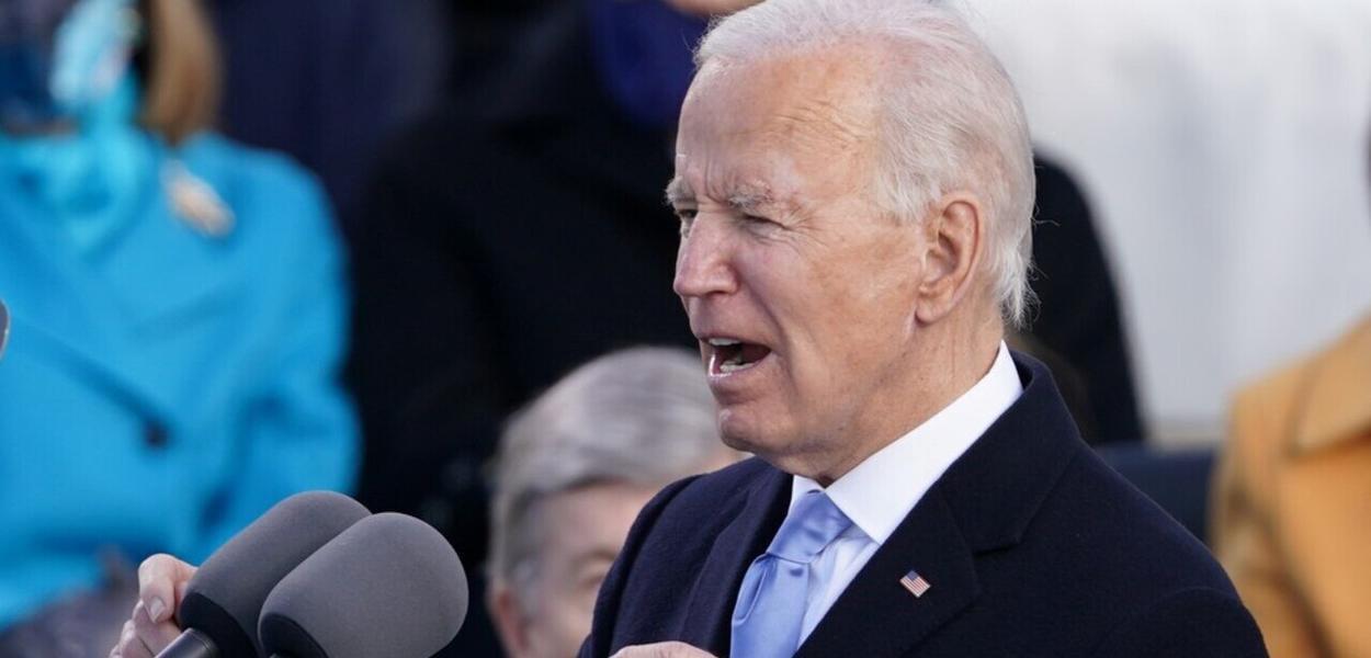 O presidente dos EUA, Joe Biden, fala durante sua posse como 46º presidente dos Estados Unidos