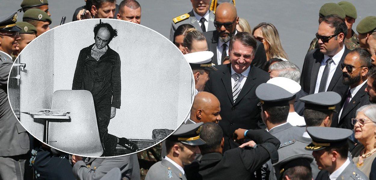 Vladimir Herzog enforcado pelo Exército e Bolsonaro cercado por militares