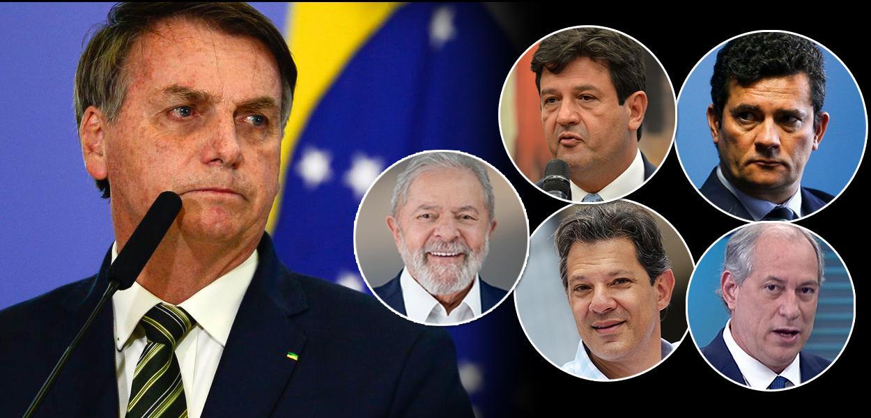 Jair Bolsonaro, ex-presidente Lula, Fernando Haddad, Luiz Henrique Mandetta, Sérgio Moro e Ciro Gomes