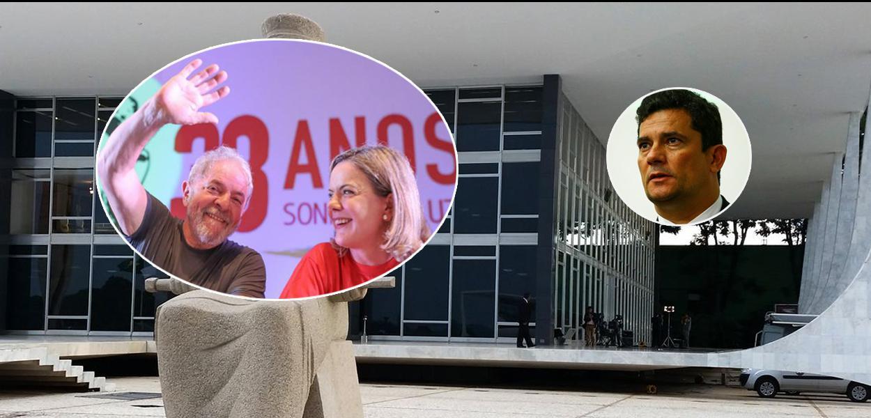 Ex-presidente Lula, Gleisi Hoffmann e Sérgio Moro