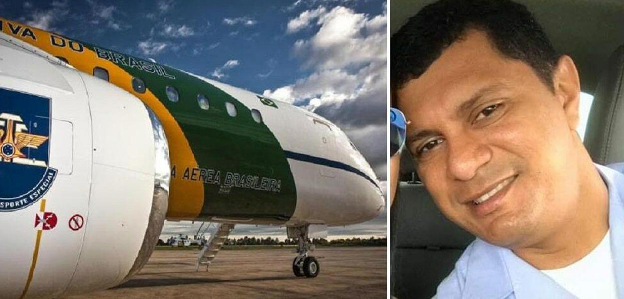 Avião da FAB e o Segundo-sargento da Aeronáutica Manoel Silva Rodrigues