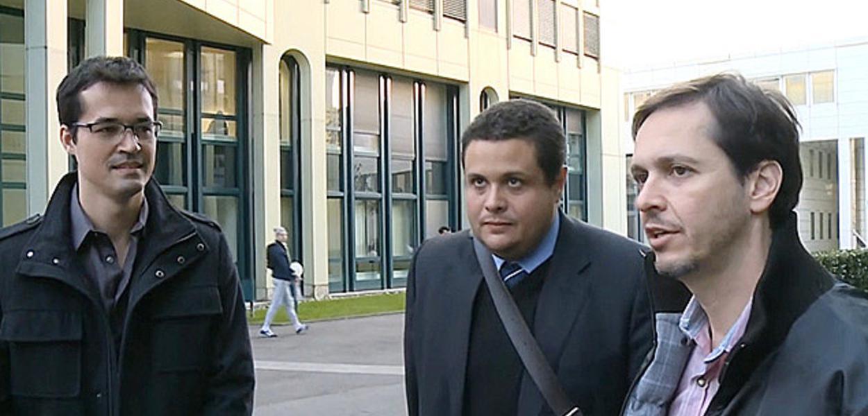 Os procuradores Deltan Dallagnol (esq.), Eduardo Pellela e Orlando Martello (dir.) na Suíça