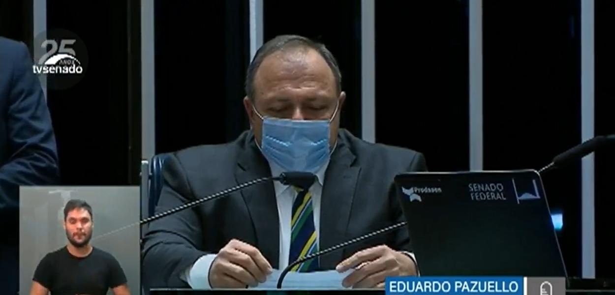 Ministro da Saúde, Eduardo Pazuello, presta esclarecimentos ao Senado sobre a política de enfrentamento à pandemia