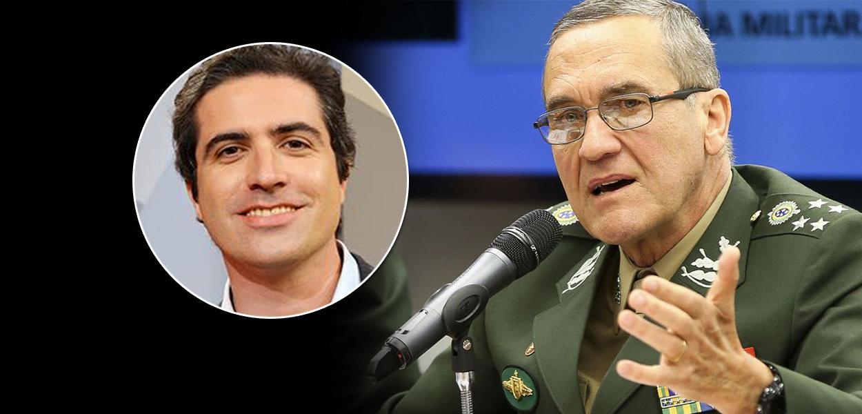 Jornalistas Bernardo Mello Franco e o general Eduardo Villas Bôas