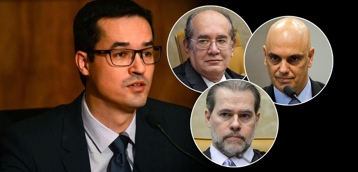 Deltan Dallagnol, e os ministros do STF Gilmar Mendes, Dias Toffoli e Alexandre de Moraes