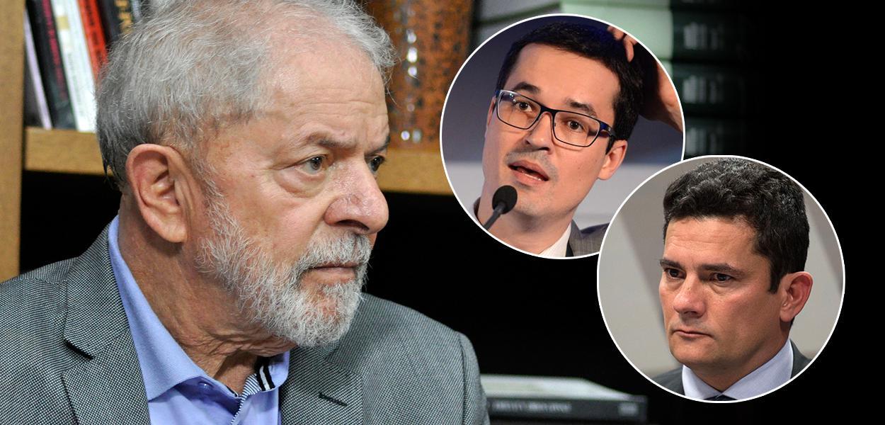 Ex-presidente Lula, Deltan Dallagnol e Sérgio Moro
