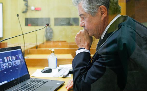 Ministro Marco Aurélio durante sessão plenária por videoconferência. (25/02/2021)