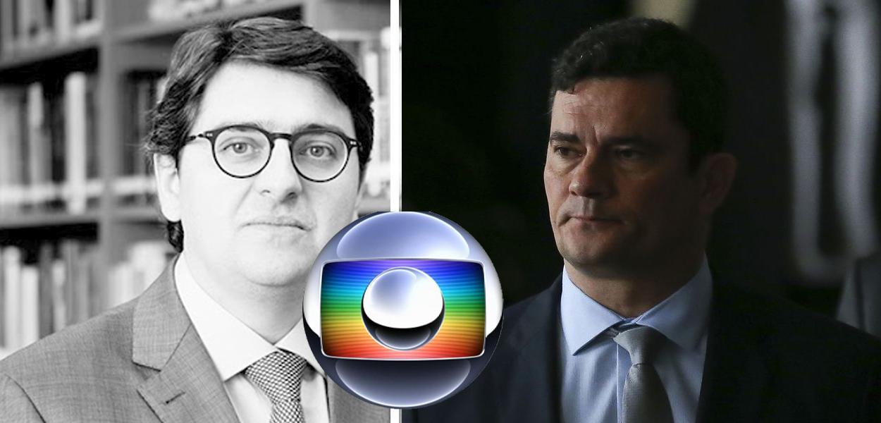 Rafael Valim, logo da Globo e Sergio Moro