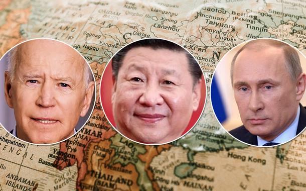 Presidentes Joe Biden (EUA), Xi Jinping (China) e Vladimir Putin (Rússia)