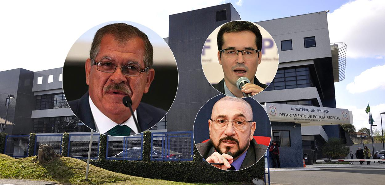 Presidente do STJ, Humberto Martins (à esq.) e os procuradores Deltan Dallagnol e Januário Paludo