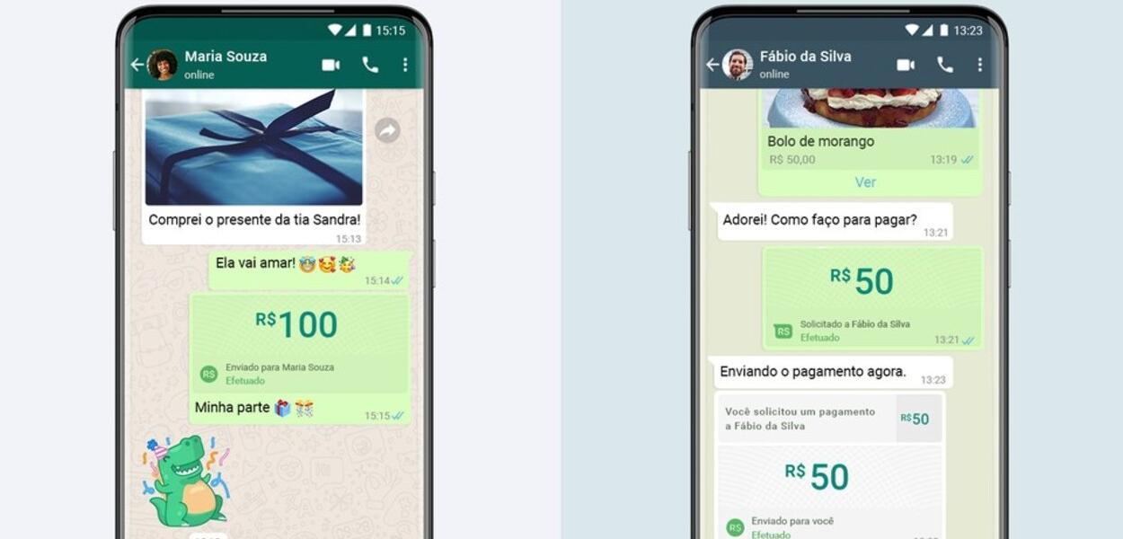 Simulação do WhatsApp Pay