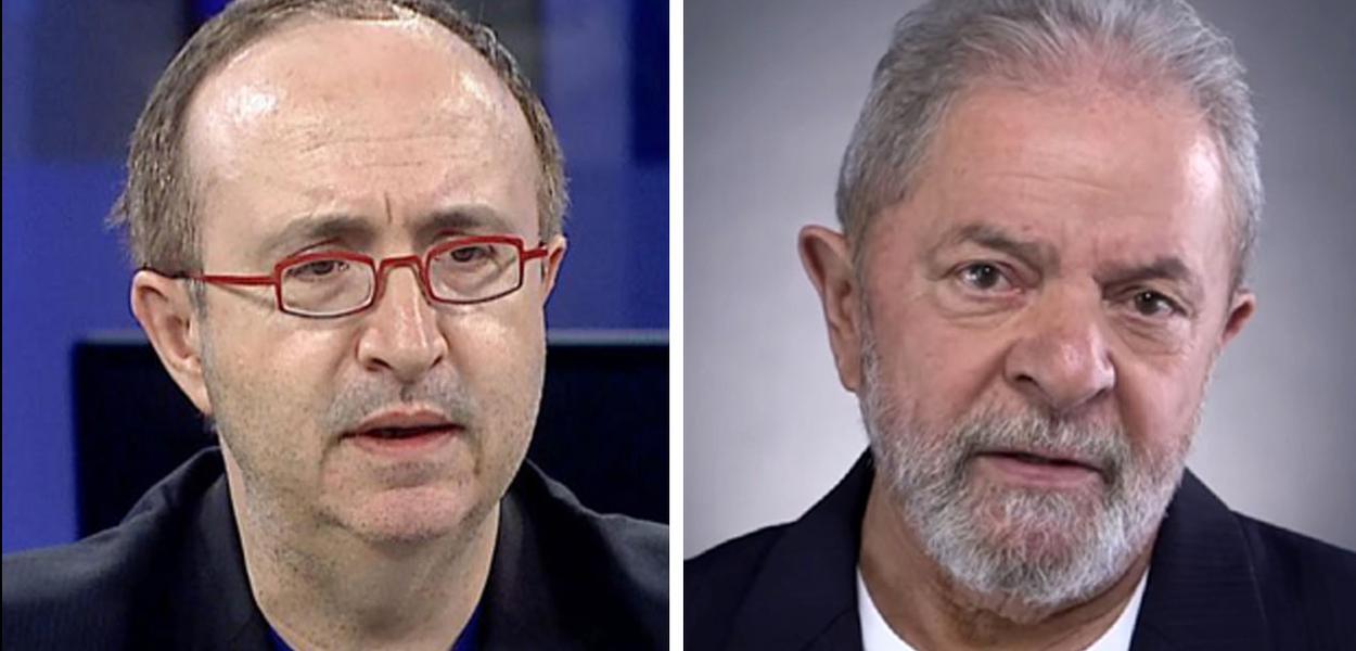 Jornalista Reinaldo Azevedo e o ex-presidente Luiz Inácio Lula da Silva
