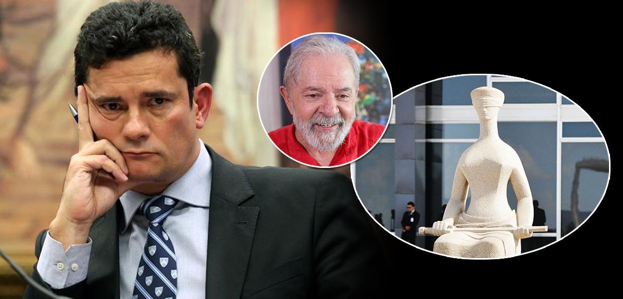 Sérgio Moro, condenado pelo STF, e o ex-presidente Lula